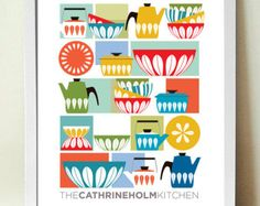 Kitchen Wall Art, Cathrineholm, Mid century Modern, Kitchen Decor, A3, Kitchen Print