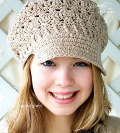 Crochet Hat Pattern Womens Newsgirl Newsboy Slouchy Hat PDF 160 12 Month to Adult Instant Download