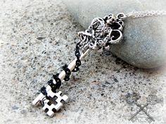 Skeleton Key Necklace / Black Silver Skull by ArtbyStarlaMoore
