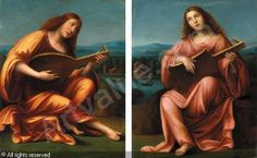 Manner of FERRARI Gaudenzio - 1) A sybil in a yellow dress playing the mandolin; 2) A sybil in a red dress playing the lute