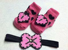 Baby Girl Beaded headband and socks by Oglalawin on Etsy, $25.00