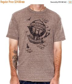 ON SALE Airship Men's t-shirt Vintage Steampunk T-shirt Eco Brown Mens graphic tee (19.20 USD) by banyantreeclothing