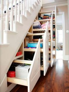 Make Home Neater With Smart Storage Rack Design Ideas Nowadays, most people always dream of their joy to enter their first home and about the … Staircase Storage, Attic Storage, Smart Storage, Storage Spaces, Extra Storage, Hidden Storage, Creative Storage, Stair Shelves, Attic Staircase