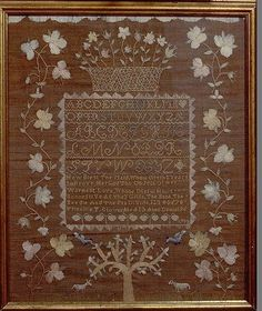 Embroidered Sampler Maker: Priscilla T. Glover (born ca. 1785) Date: 1798 Geography: New England, Salem, Massachusetts, United States Culture: American Medium: Embroidered silk on linen/wool Dimensions: 18 1/4 x 15 in. (46.4 x 38.1 cm) Classification: Textiles