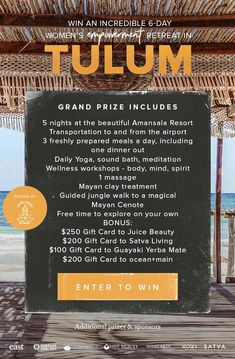 Chance to win trip to Tulum from Juice Beauty, a great brand of skincare all organic. Hallmark Channel, The Places Youll Go, Places To Go, Travel Sights, Juice Beauty, Win A Trip, Adventure Is Out There, Dream Vacations, Good To Know