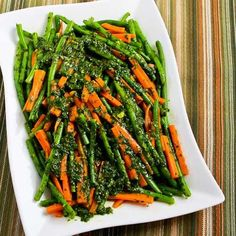 This recipe for Steamed Green Beans and Carrots with Charmoula Sauce might win the award for best new side dish (as in, we could not stop eating it!)  [from KalynsKitchen.com] #HealthyThanksgiving