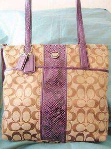 43e88993c2fa NWT Coach 25706 Signature Python Stripe Tote Khaki Purple Carryall Tote Bag  Coach Purses