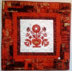 A Bouquet in Red and White 24 x 24 inch art by OVBrantleyQuilts, $275.00