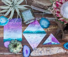 Bohemian-inspired blue + purple wedding suite Purple Wedding, Trendy Wedding, Boho Wedding, Wedding Table, Fall Wedding, Wedding Scene, Art Deco Wedding, Wedding Stationery, Wedding Invitations