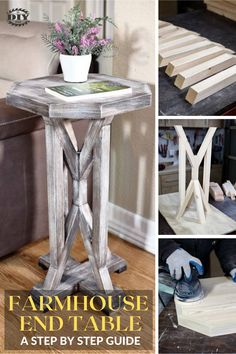If you're looking to build a small project for your living room, check out this DIY Farmhouse End Table. This project may seem complicated to make because of different angle cuts, but it's actually quite simple. I'll walk you through the steps on how to accurately cut the angles and assemble the project. #diy #freeplans #projects #homedecor #interior #furniture #woodproject #table #farmhouse Diy Furniture Plans Wood Projects, Home Furniture, Diy Projects, Outdoor Projects, Interior Stairs, Interior Trim, Interior Blogs, Farmhouse End Tables, Farmhouse Decor