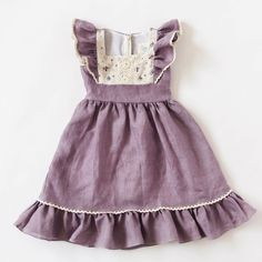 Flutter Dress - Lavender Linen - It's a Girl Little Girl Dresses, Girls Dresses, Flower Girl Dresses, Easter Dresses For Girls, Modest Dresses, Dress For Girl Child, Baby Dresses, Long Dresses, Moda Kids