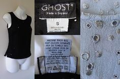 1990's Vintage GHOST Made in England (Tanya Sarne of Liberty) Black Summer Broderie Anglaise Vest Top Ladies 10 12