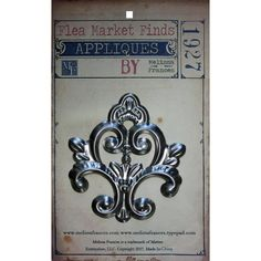 """Melissa Frances Flea Market Finds Metal Applique: Milan - Scraps of Darkness and Scraps of Elegance. These beautifully detailed metal embellishments are perfect for all crafty projects. Use them to add dimension and detail to scrapbook layouts, greeting cards, home decor and more - perfect for mixed media and off the page projects! One piece, approximately 3.5"""" by 3.75"""" each."""