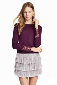 Fine-knit jumper with lace: Jumper in a soft, fine lustrous knit with lace details and a lace V-neck panel at the back.