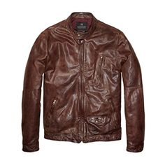 006287d5ed6 Scotch And Soda - Men s Leather Biker Jacket - Dark Rum.add some edge to  your wardrobe with a classic leather biker jacket.