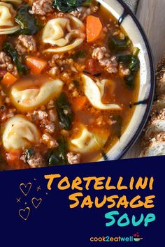 Sausage tortellini soup makes a simple filling dinner the whole family will enjoy. This delicious soup is loaded with Italian sausage, cheese tortellini, vegetables and spices.