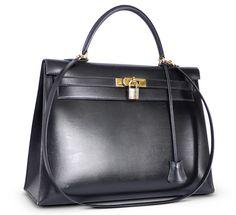Hermes Black Box Calf Kelly Bag 35 Vintage W Strap Gold Hardware
