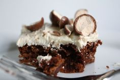 Whopper Brownies w/ Malted Vanilla Frosting #recipe