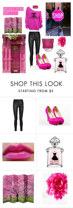 """""""Bright Pink Top """" by kotnourka ❤ liked on Polyvore featuring Helmut Lang and Brian Atwood"""