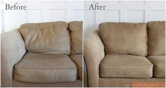 Easy and inexpensive couch make over. This is amazing!! I'm so doing this!!