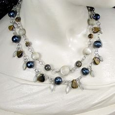 Layered Necklace Wire Wrapped Sterling Silver Dyed CFW Pearls Tigereye @Margaret Crow - Jewelry on ArtFire