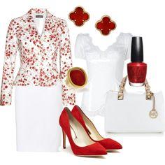 Dressy Work - Red & White - Polyvore