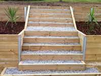 The Retaining Walls Specialist Melbourne- Treated Pine Timber Retaining Wall wit. - The Retaining Walls Specialist Melbourne- Treated Pine Timber Retaining Wall with Steps. Retaining Wall Steps, Garden Retaining Wall, Landscaping Retaining Walls, Sloped Garden, Patio Steps, Timber Stair, Pine Timber, Timber Walls, Backyard Patio