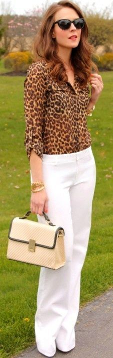 White Casual Full Length Top Leopard Blouse & Hand Bag
