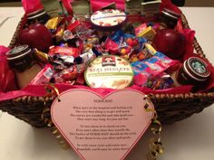 """My rendition of NURSE BAIT. I added several types of candy, and included healthier options like organic fruit snacks, oatmeal & apples. I also included a favorite of mine—Starbucks Mocha! For a close friend that was severely injured by a falling tree in recent storm in DC and is now permanently paralyzed from the chest down. The nurses said it was """"THE BEST"""" they have ever gotten :-)"""