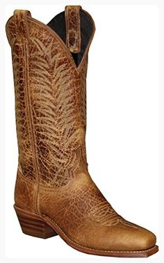 2455b4677293 Abilene Ladies  12-Inch Distressed Bison Leather Medium Square Toe Tan  Traditional Western Boot
