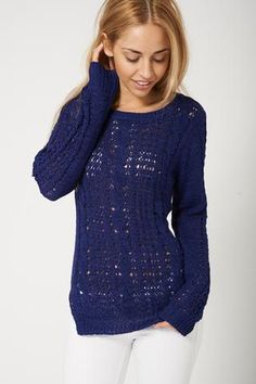 Trendy Dark Blue Cable Knit Jumper Sweater