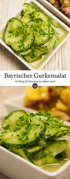 Eine Salatgurke, ein schlichtes Dressing aus Essig, Öl, süßem Senf, Salz, Pfeffer und eine Handvoll Schnittlauch. Mehr Zutaten braucht ein bayrischer Gurkensalat nicht. #gurkensalat #rezepte #joghurt #essig #schmand #bayern #bayrisch #regional #kochen #beilage