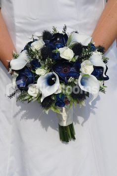 Fresh Touch Dark Blue Anemone Bridal Bouquet w/ Roses, Thistles, Heather and Ver. Fresh Touch Dark Blue Anemone Bridal Bouquet w/ Roses, Thistles, Heather and Vermeer Lilies Navy Wedding Flowers, Wedding Flower Guide, Prom Flowers, Bridal Flowers, Silk Flowers, Floral Wedding, Wedding Blue, Fresh Flowers, Trendy Wedding