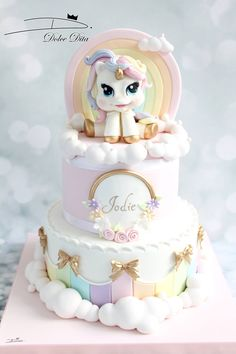 Pretty unicorn cake for kid's birthday party, baby shower, birthday Unicorne Cake, Cupcake Cakes, Beautiful Cakes, Amazing Cakes, Winter Torte, Rodjendanske Torte, Pony Cake, Birthday Cake Girls, Unicorn Birthday