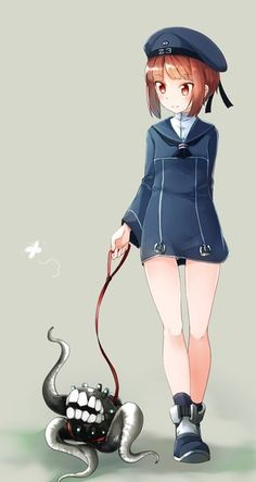 Image d'anime 540x1013 avec  kantai collection z3 destroyer (max schultz) enemy aircraft (kantai collection) comah single tall image blush short hair red eyes brown hair smile simple background fringe looking away grey full body character names blunt bangs walking shinkaisei-kan