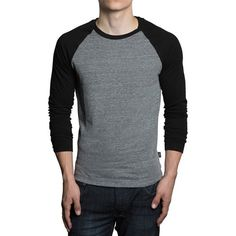 GENTS - Long Sleeve Baseball Raglan in Grey with Black (195 BRL) ❤ liked on Polyvore featuring tops, t-shirts, raglan baseball tee, cotton baseball jersey, baseball tshirt, long sleeve t shirts and baseball style tees