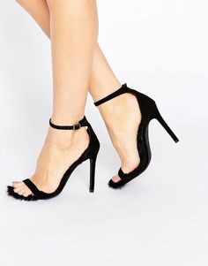24f1cc0d6a29 Public Desire Diana Furry Barely There Heeled Sandals - Black