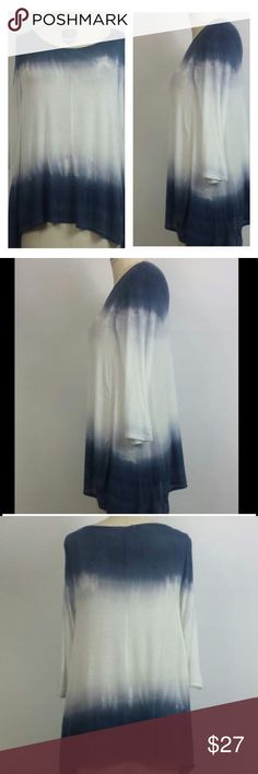Tie die ombré navy and white shirt Navy and white tie dye Cotten shirt one size fits most.  3% spandex Tops Tees - Long Sleeve