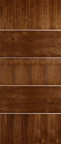 Construction / Features Authentic American Walnut Wood Veneer Grains Matching Solid Walnut Stile Edges Modern Horizontal And Vertical Walnut Grain Pattern Grooves Are Deep And Wide Alumin Walnut Wood Texture, Veneer Texture, Flush Door Design, Garage Door Paint, Wood Exterior Door, Flush Doors, Single Doors, Wood Veneer, Entry Doors