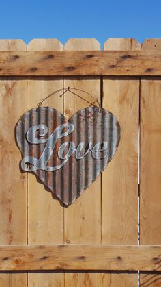 Upcycled old Corrugated Metal Heart with Love by RockinBTradingCo, $25.00