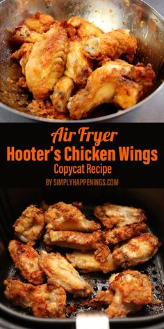This is a recipe for Hooters hot wings cooked in the air fryer. Theyre crispy a little spicy and definitely juicy! Perfect as an appetizer for parties football games or as a meal at home when you're missing that spicy flavor! Air Fryer Recipes Snacks, Air Fryer Recipes Breakfast, Air Frier Recipes, Air Fryer Dinner Recipes, Hooters Chicken Wing Recipe, Air Fryer Recipes Chicken Wings, Chicken Wing Recipes, Hooters Recipe, Recipe Chicken