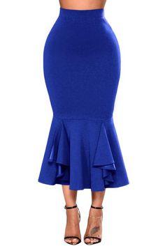 Royal Blue Ruffled Midi Mermaid Skirt #royalblue #midiskirt