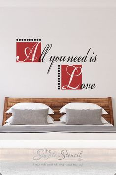 Easy to install die cut wall decal that reads: All you need is love. Designed with a modern flair in multiple colors. A great decor idea for a master bedroom or wedding decor for any Beatles or John… More Wall Art Designs, Wall Design, Master Bedroom, Bedroom Decor, Letter Wall, Easy Install, All You Need Is Love, Beatles, Wall Decals