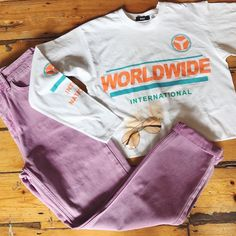 2c32d51191bf BDG Worldwide Orange Cropped Long Sleeve T-Shirt