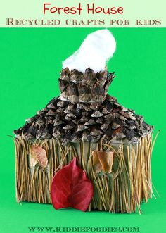 Recycled crafts for kids - forest house - tissue box, pine needles & cones, fall leaves main #fallcraft