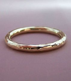 14k Gold Wedding Ring Hand Hammered Recycled Gold by esdesigns: