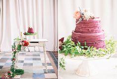 ruffled marsala-hued cake