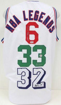 Julius Erving Larry Bird Magic Johnson Signed NBA Legends Custom Jersey PSA JSA
