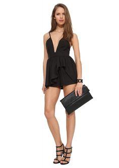Plunge Neckline Romper in Black | Necessary Clothing