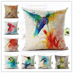 Sale - Watercolour Birds Series II. Decorative Pillow Case by CassiopeiaStudio on Etsy https://www.etsy.com/uk/listing/280219184/sale-watercolour-birds-series-ii